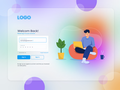 Login Page Design Concept character creative minimalist minimal modern login design login screen login form login page login website design webdesign web ui design web design ux uiux uidesign ui