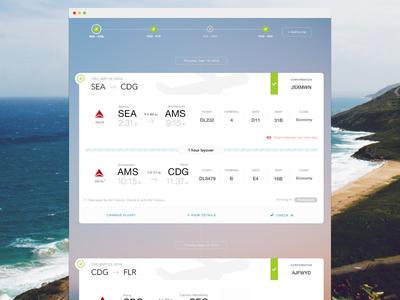 Flight Summary - Trip Timeline web flight travel ui clean gradient itinerary timeline
