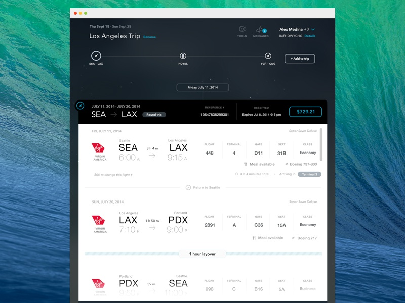 Flight Details - Trip Timeline by Jered Odegard on Dribbble