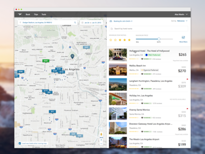 Hotel Shopping - List travel app search tags filter hotel results list clean map ui web