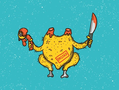 chicken Killer chicken chic animal illustraion sticker illustration flat character icon vector design