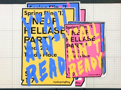 Spring Fling '17 Lineup Release Posters pink typography brush lettering logo branding design concert music poster