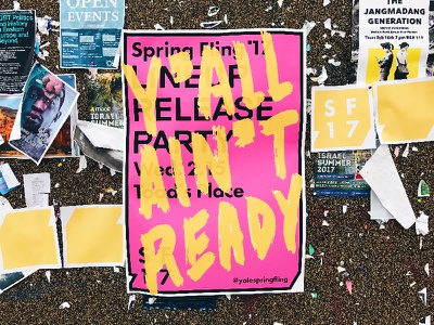 Spring Fling '17 Lineup Release Poster in the Wild poster music concert design branding logo lettering brush typography pink