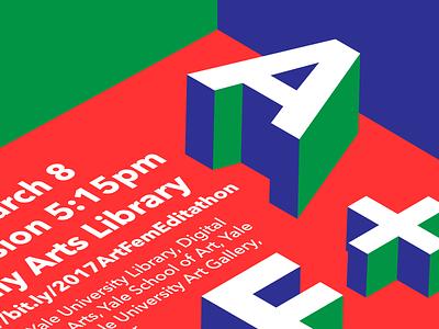 Yale Art+Feminism Poster Detail typography sans isometric illustrator flat red blue avenir 3d