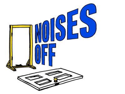 Noises Off illustration yellow white play stage drama pen hand