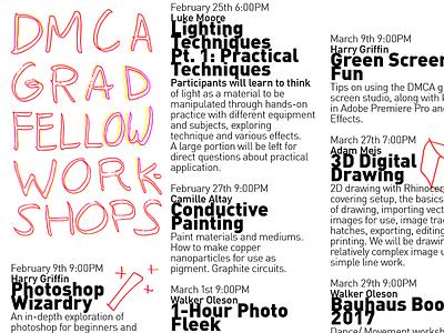 DMCA Graduate Fellow Workshops poster minimalist simple overprint yellow pink lettering graphic design design typography