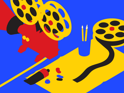 DMCA Interdisciplinary Arts Awards Illustration No. 2 illustrator film minimalist red yellow blue isometric 3d illustration design