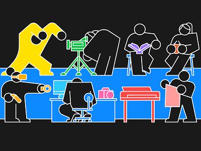 Workshops stroke colorful color black illustration design
