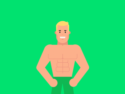 DEMEY88 Explainer Video character olympia falling character animation cup health coaching fitness bodybuilding champion motion graphic 2d character design illustration gif animation