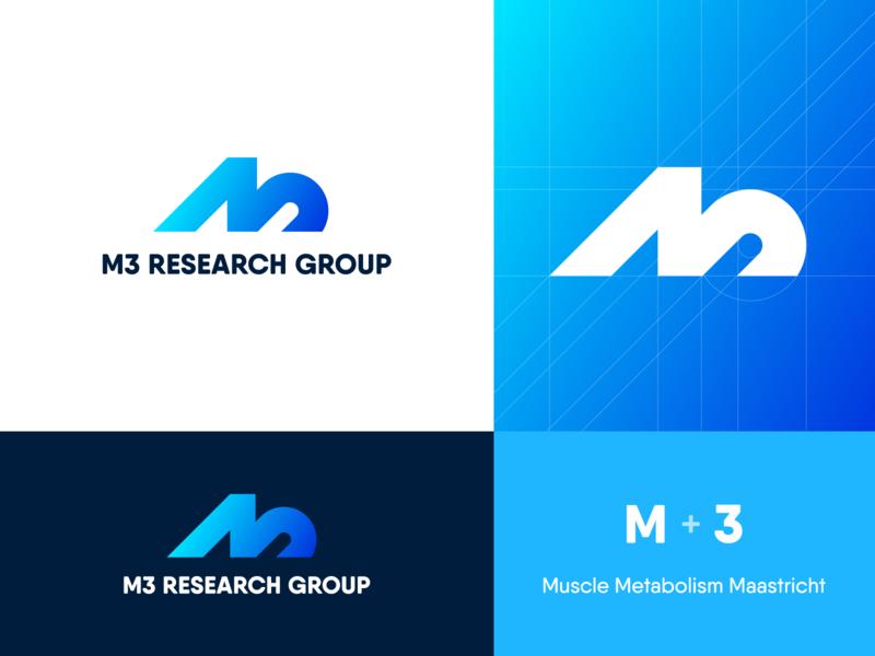 M3 Research Group – Logo Design logo mark maastricht metabolism muscle research health logo grid grid m3 m logo identity design identity icon design icon gradient monogram branding