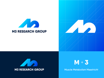 M3 Research Group – Logo Design logo mark maastricht metabolism muscle research health logo grid grid m3 m logo identity design identity icon design icon gradient monogram branding