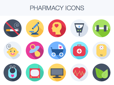 Freebie: Pharmacy Icons colors heart free health icon download vector set medical flat pharmacy icons