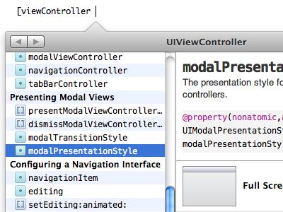 Documentation popover mock for Xcode