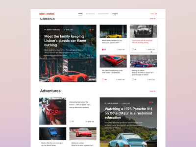 Homepage (Soulmates) 2018 social tiles news minimal navigation typography articles table grid layouts cars webdesign website design landing page layout blog website design ux ui