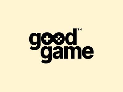 Logo (goodgame) art direction illustration ui flat negative space negative logotype brand brandmark gaming minimal clean game logodesign logo typography art vector branding