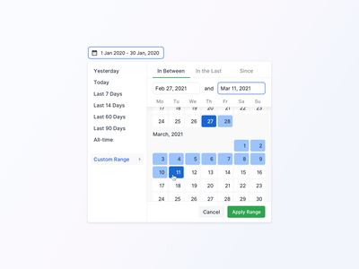 Date Picker - New Countly UI component dropdowns selection input time date calendar date picker date range datepicker chart navigation interface dashboard analytics flat design app ux ui