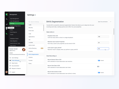 ⚙️ Settings - New Countly UI dashboard profile user profile search application interface navigation panel material toggle menu cms light ui configuration management settings design app ux ui