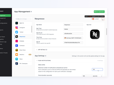 ⚙️ Settings / Apps - New Countly UI filter cms collapse logo icon tooltip input material navigation menu configuration settings light ui clean layout dashboard analytics app ux ui