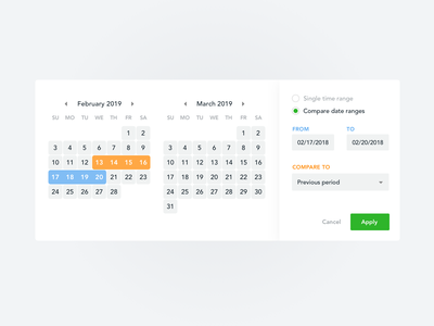 Date Picker with Compare Option (Countly) button layout vector app analytics date range design drop down calendar app date selector time calendar date picker date ux ui