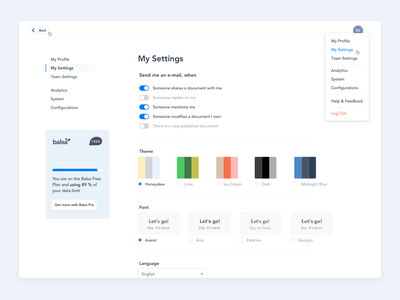 Settings Page (Balsa) menu navigation toggle settings layout interface design dashboard app ux ui