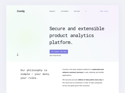 Minimalistic product page concept (Countly)