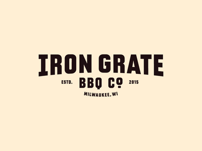 Iron Grate BBQ Co. food resturaunt barbeque rebrand business bbq vintage branding badge logotype brand identity