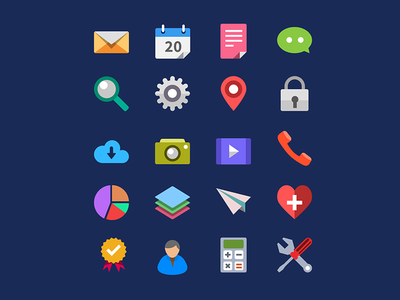20 Flat Icons Vector PSD flat icons icons free icons free psd download icons