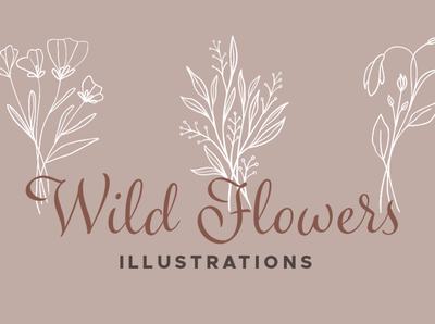 Wildflower Vector Illustrations floral elements vector floral illustrations vector florals handdrawn illustration vectors handdrawn wildflowers handdrawn vectors illustrations vector wildflowers