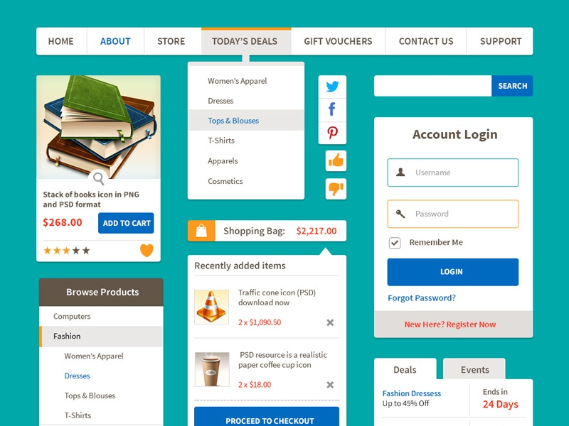 Ecommerce Flat UI Kit  Vol.1 ecommerce ui kit flat ui kit download psd ui kit freebie