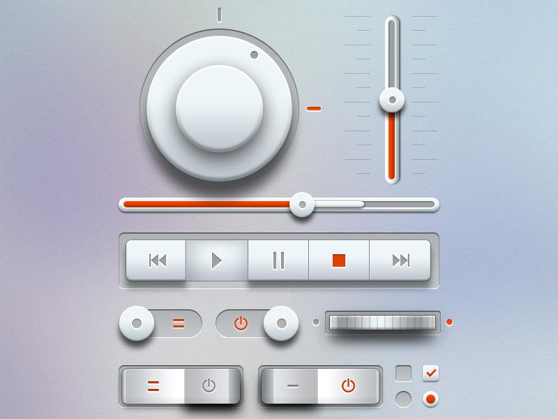 Light Music UI Kit PSD music ui kit ui psd music psd elements freebie download psd