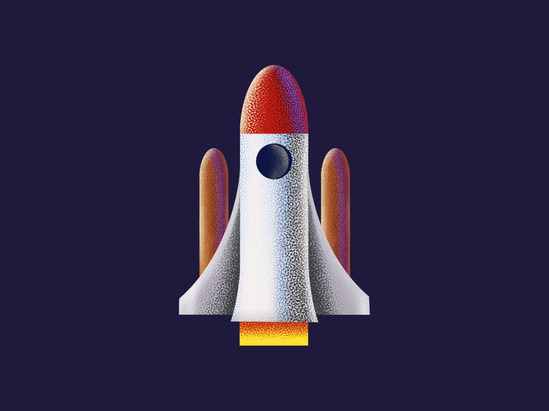 Space Shuttle - Grainy Illustration space icons noise icons illustrations space shuttle procreate brushes grain brushes
