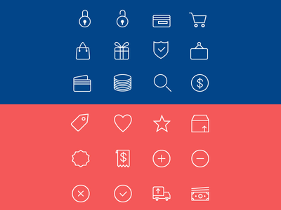 24 Ecommerce Line Icons (PSD & AI)
