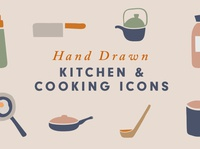 Hand drawn Kitchen Utensils Icons illustrations