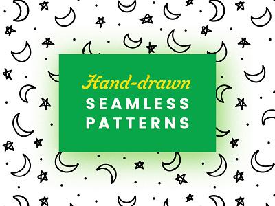 Handdrawn Seamless Patterns lines patterns spiral patterns moon patterns start patterns vectors vector illustrations patterns seamless hand drawn