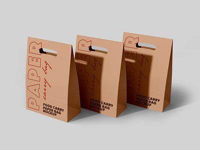 Paper Packaging Carry Bag Mockups mockup templates packaging mockup food carry bag food bag mockups carry bag paper carry packaging