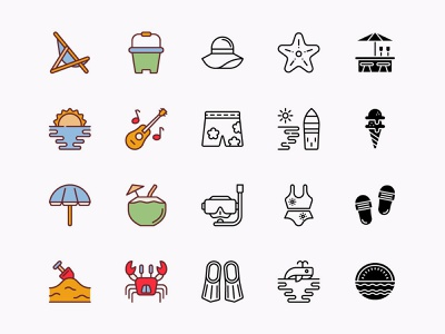 Vector Beach Icons Pack icon icons sea icons beach icons vector icons