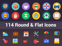 114 Flat and Round Icons