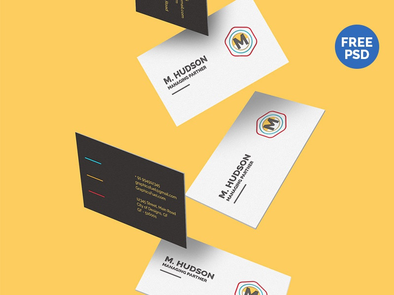 Free falling business cards mockup by graphicsfuel rafi dribbble reheart Gallery