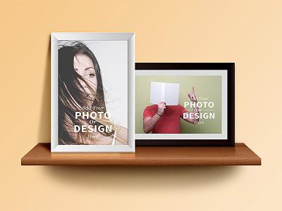 Photo Frames on the Shelf wood download template mockup freebies free psd wooden shelf psd photo frames psd