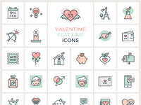 Valentine flat line icons preview