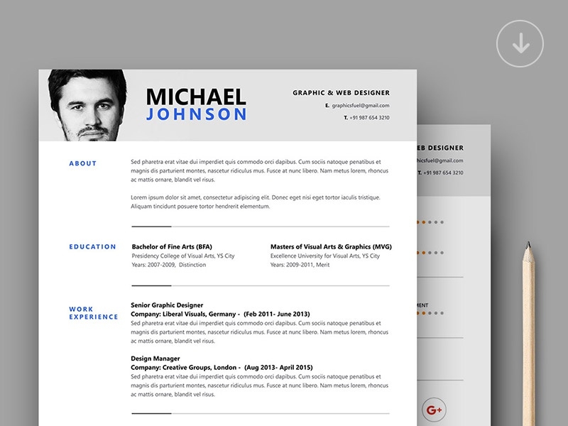 resume template by graphicsfuel  rafi