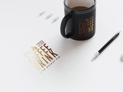 Realistic Logo Mockup gold foil paper coffee cup logo freebie free download psd file free psd mockup logo mockup