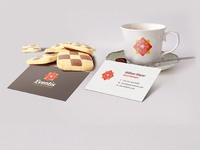 Business card coffee cup scene mockup psd