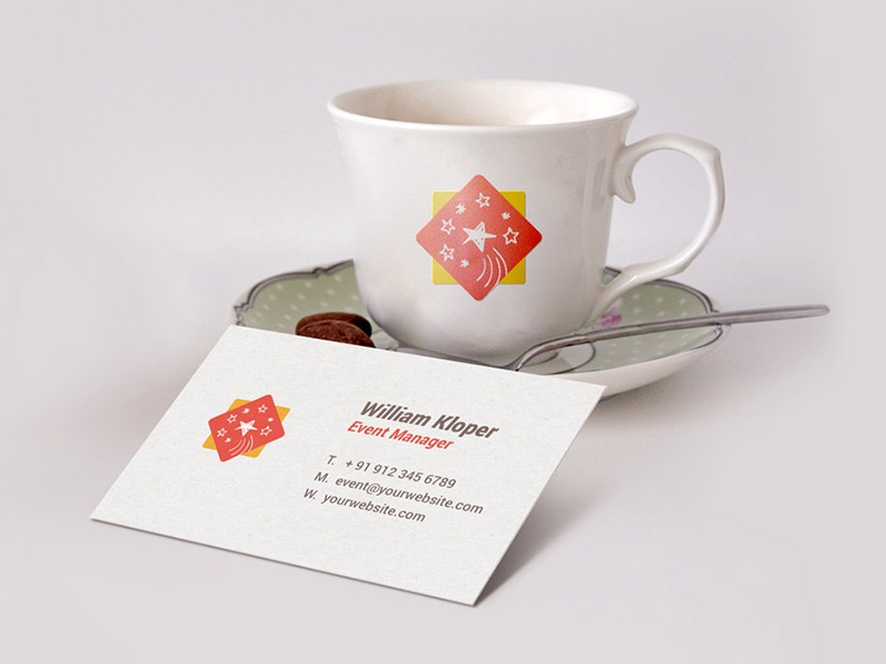 Businesscard coffee cup scene mockup