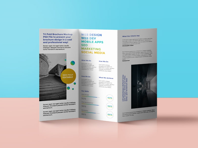 tri fold brochure mockup by graphicsfuel rafi dribbble
