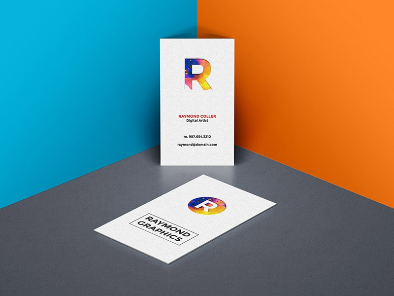 Business Card Mockup PSD By GraphicsFuel Rafi Dribbble - Business card vertical template