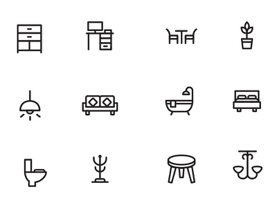 Home Decor and Furniture Icons free vector icons stroke icons outline icons interior illustrator home decor icons furniture icons freebies free psd files free icons icons