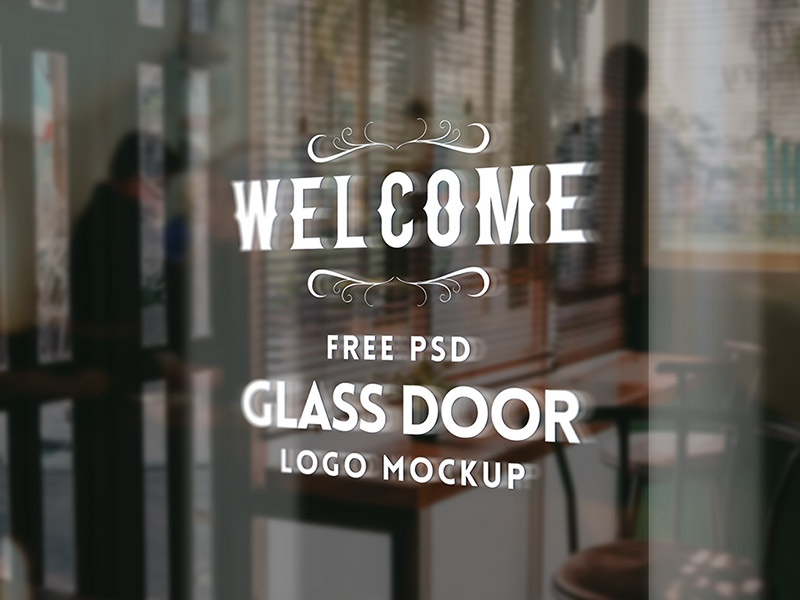 Glass Door Logo Mockup Psd By Graphicsfuel Rafi