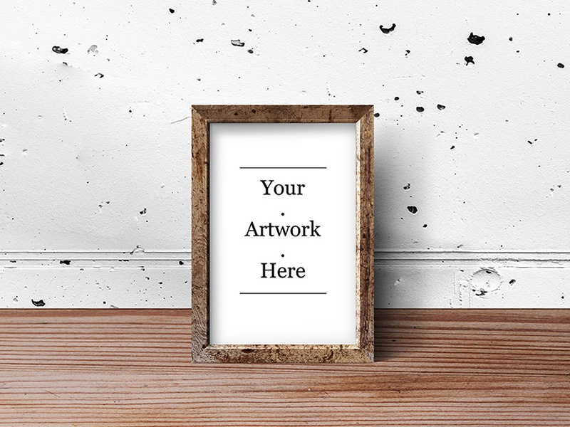 Rustic Wood Photo Frame PSD Mockups
