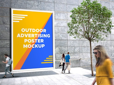 Outdoor Advertising Mockup PSD advertising photoshop psd download freebies freebie free poster design mockup poster design mockup outdoor